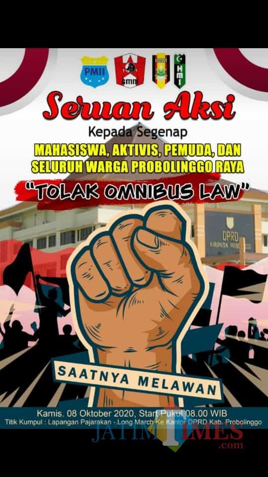 Pamflet aksi penolakan UU Cipta kerja Omnibus Law. (Foto: kiriman korlap Aksi penolakan)