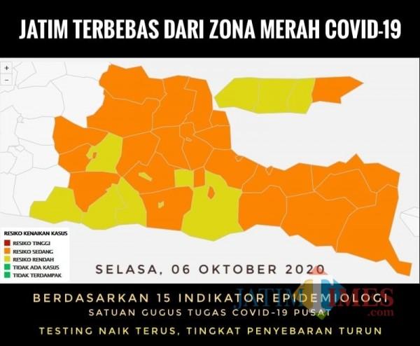 Peta zona Covid-19 di Jatim