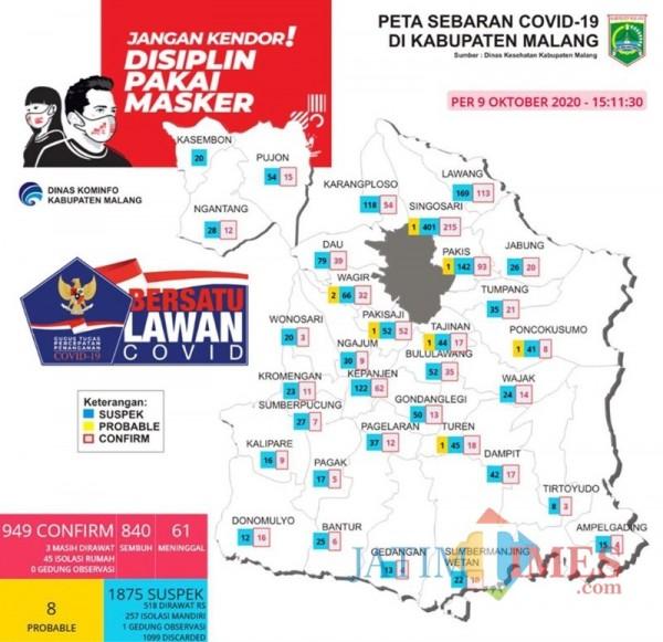 Peta sebaran kasus Covid-19 di Kabupaten Malang periode 9 Oktober 2020 (Foto : Istimewa)