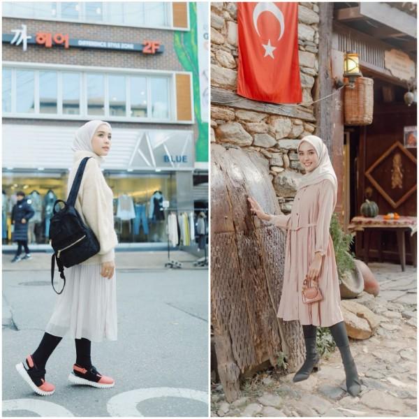 Outfit berhijab dengan legging ala hijabers Hamidah Rachmayanti. (Foto: Instagram @hamidahrachmayanti).