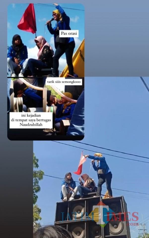 Sosok Arisya Dinda Nurmala Putri yang foto dan videonya saat aksi demo tolak UU Ciptaker viral di Tiktok (Foto: potongan video Dinda saat orasi/JatimTIMES)