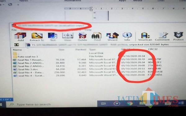Barang bukti email kecurangan ujian perangkat desa yang dipegang LSM Bintara. (Foto: Istimewa/TulungagungTIMES)