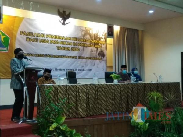 Suasana acara Fasilitasi Pembinaan Keluarga Sakinah Bagi Usia Pra Nikah di Kota Malang Tahun 2020 di Hotel Sahid Montana, Kamis (15/10). (Foto: Arifina Cahyanti Firdausi/MalangTIMES).