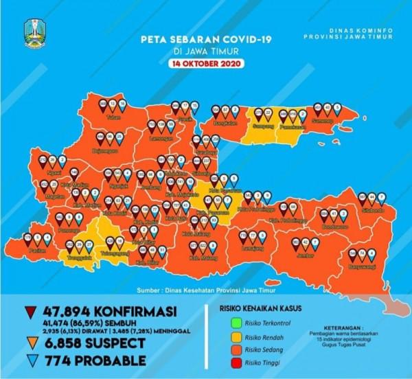 Peta sebaran kasus Covid-19 di Jatim periode 14 Oktober 2020 (Foto : Istimewa)