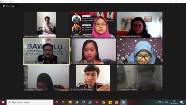 Suasana pelaksanaan diskusi Webinar yang digelar oleh Program Studi Ilmu Pemerintahan FISIP UB, Rabu (14/10/2020). (Foto: Dok. Prodi Ilpem)