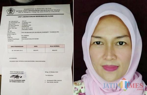 Hasil tes dari rumah sakit lain negatif, sebelumnya Andriyani dinyatakan positif dalam pemeriksaan di Tulungagung (Foto: Istimewa / TulungagungTIMES)
