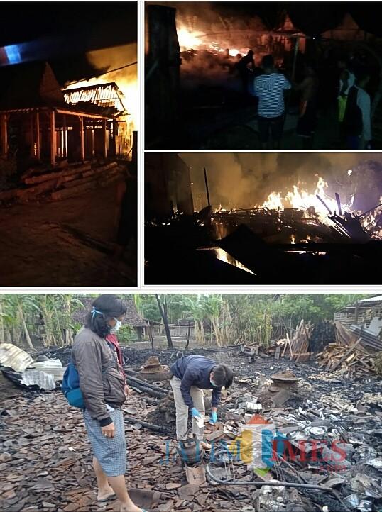 Empat rumah kayu jati hangus terbakar di Pitu, Ngawi. (Foto: Istimewa)
