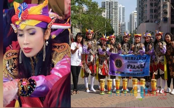 Rachmawati (kiri) dan kelompok Reog Kendang di Hong Kong / Foto : Istimewa / Tulungagung TIMES