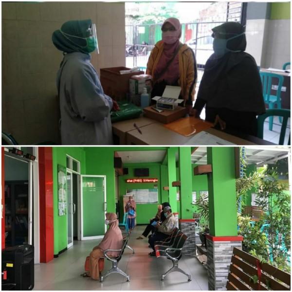 Petugas kesehatan saat melayani pengunjung di Puskesmas Ciptomulyo (atas), dan ruang tunggu pengunjung physical distancing di Puskesmas Pandanwangi (bawah). (Foto: Source Instagram).