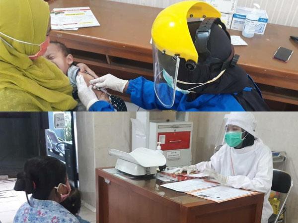 Sistem pelayanan imunisasi di Puskesmas Cisadea (atas), dan layanan konsultasi gizi di Puskesmas Polowijen (bawah). (Foto: source Instagram).