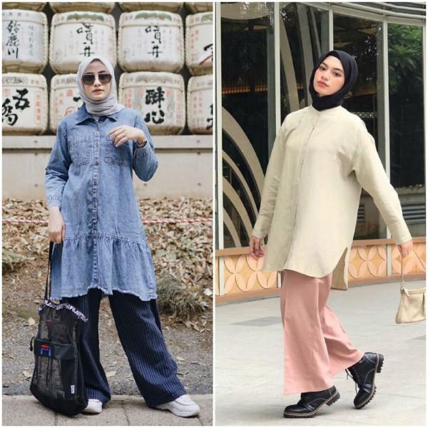 Inspirasi boyish outfit dengan tunik ala selebgram hijab. (Foto: source Instagram).
