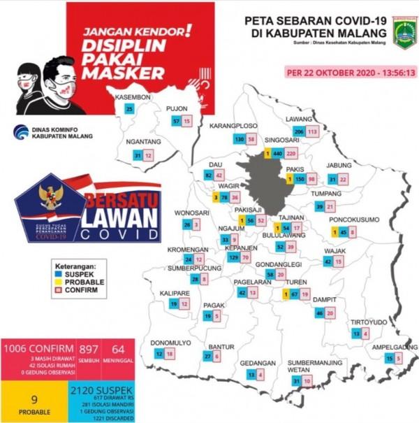 Peta sebaran kasus Covid-19 di Kabupaten Malang periode 22 Oktober 2020 (Foto : Istimewa)