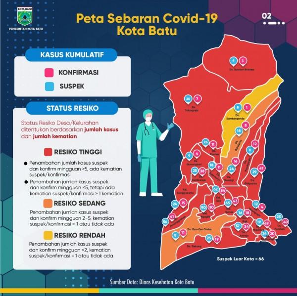 Peta sebaran kawasan zona Covid-19 di Kota Batu. (Foto: Pemkot Batu)