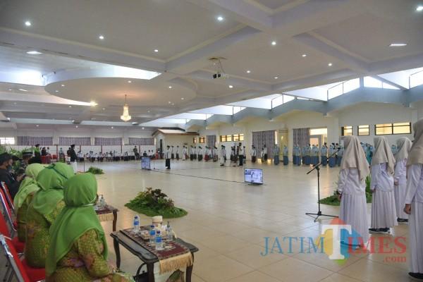 Suasana upacara HSN 2020 di Aula Pemkab Jember (foto: Izza / JatimTIMES)