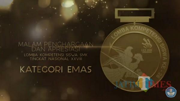 Medali emas Lomba Kompetensi Siswa (LKS) SMK Tingkat Nasional 2020. (Foto: YouTube Kemdikbud)
