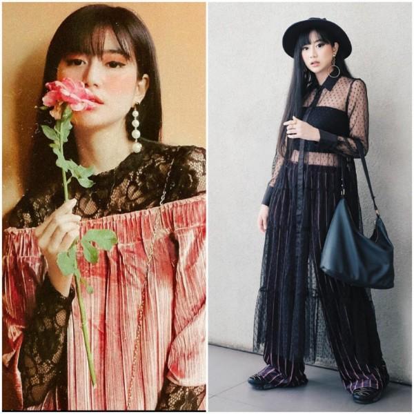Stylish, padu padan outfit transparan ala Yumna Kemal. (Foto: Instagram @yumnakemal).