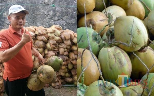 Sukardi, pedagang yang datangkan kelapa dari Madura. / Foto : Istimewa / Tulungagung TIMES