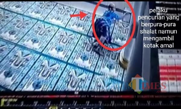 Pelaku pencurian kotak amal yang berpura-pura shalat (Ist)