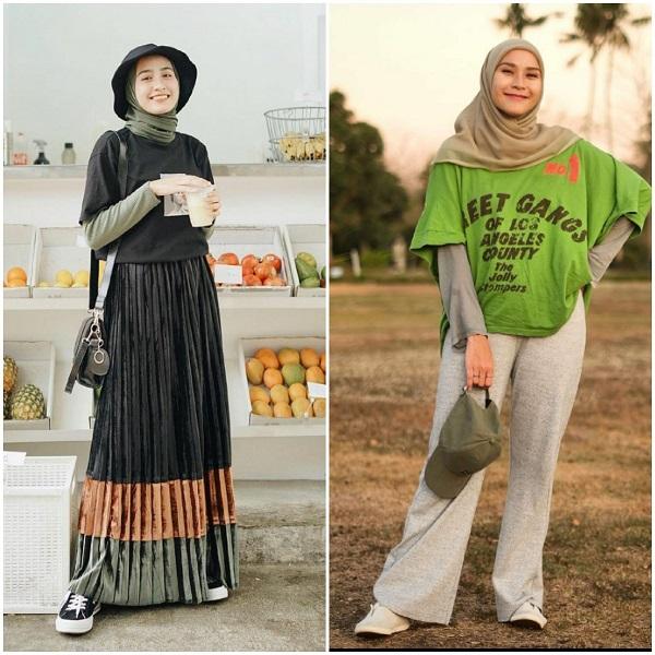 Outfit busana lengan pendek ala selebgram hijab Indonesia. (Foto: source Instagram).
