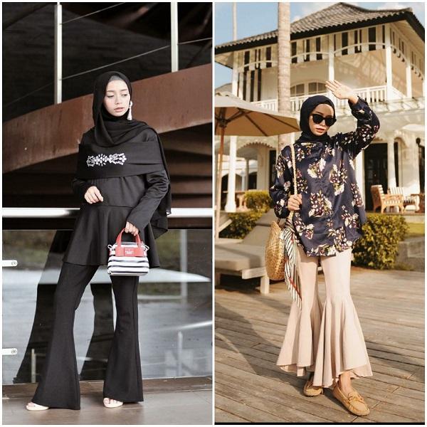 Gaya berhijab dengan outfit Flare Pants ala hijabers Joyagh. (Foto: Instagram @joyagh).