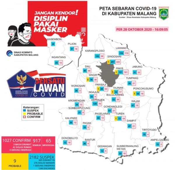Peta sebaran kasus Covid-19 periode 28 Oktober 2020 (Foto : Istimewa)