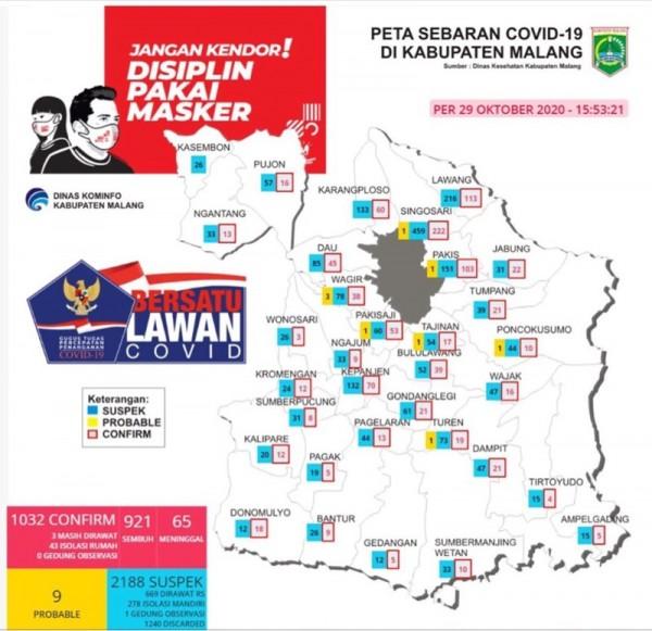 Peta sebaran kasus Covid-19 di Kabupaten Malang periode 29 Oktober 2020 (Foto : Istimewa)