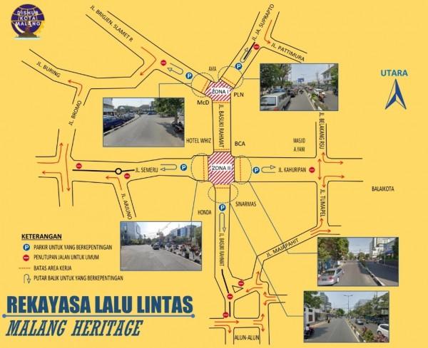 Rekayasa lalu lintas selama pembangunan koridor Kayutangan Heritage. (Dokumentasi Pemkot Malang).