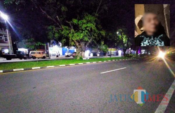 Lokasi yang menjadi tempat kejadian kecelakaan, dimana seorang pengendara mengalami insiden tabrak lari (Anggara Sudiongko/MalangTIMES)