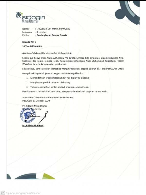 Surat Pemboikotan terhadap produk Perancis oleh TokoBASMALAH (Istimewa).