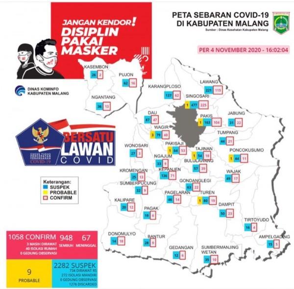Peta sebaran kasus Covid-19 di Kabupaten Malang periode 4 November 2020 (Foto : Istimewa)
