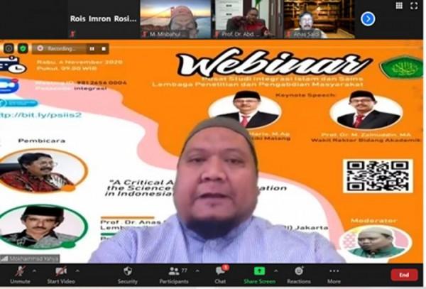 Webinar UIN Malang bertajuk A Critical Analysis of The Science-Religion Integration in Indonesia Universities. (Foto: istimewa)