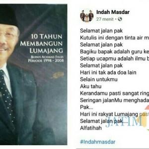 Mantan Bupati H. Achmad Fauzi Meninggal Dunia, Ini Ungkapan Duka Wabup Lumajang