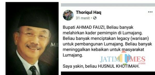 Unggahan Bupati Lumajang H. Thoriqul Haq melalui akun media sosialnya (Foto : Moch. R. Abdul Fatah / Jatim TIMES)