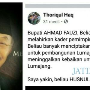 Cak Thoriq Sebut Bupati Achmad Fauzi Tinggalkan Banyak Kebaikan Untuk Lumajang