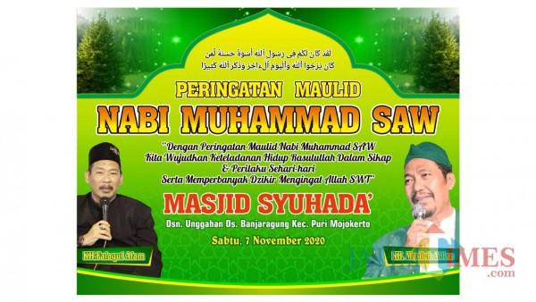 Banner peringatan maulid Nabi Muhammad SAW yang dilaksanakan Ta'mir Masjid Syuhada' (Foto: MojokertoTIMES)