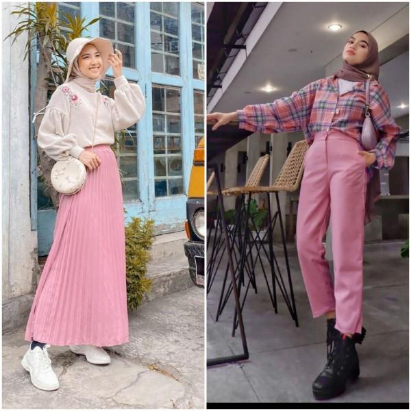Tampil Manis Pakai Bawahan Warna Pink, Coba 5 Gaya Para Hijabers Ini