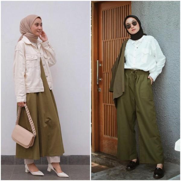 Ide OOTD Outfit Warna Army Buat Hijabers, Cocok Buat Acara Santai hingga Semi-Formal