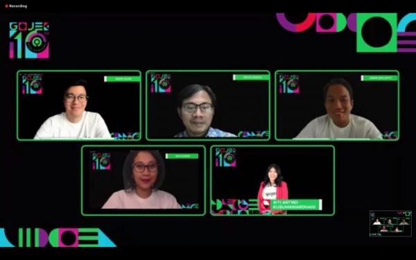 Konferensi pers satu dekade Gojek secara virtual (Istimewa).