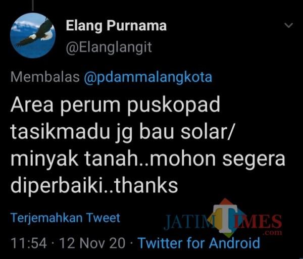 Cuitan pelanggan PDAM Kota Malang terkait kualitas air yang disampaikan di Twitter (Screenshot).