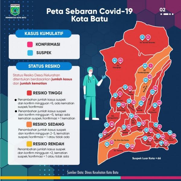 Peta sebaran covid-19 di Kota Batu per Kamis (12/11/2020). (Foto: Pemkot Batu)