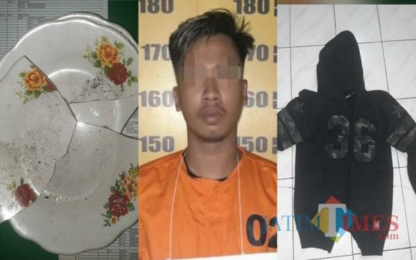 Tersangka Pelaku dan Barang bukti / Foto C: Dokpol / Tulungagung TIMES