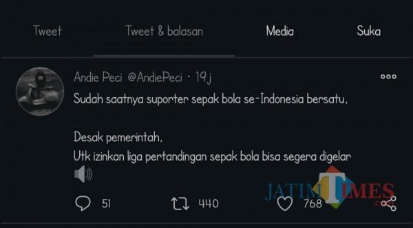 Cuitan Andi Peci di Twitter pribadinya (screenshot Twitter)