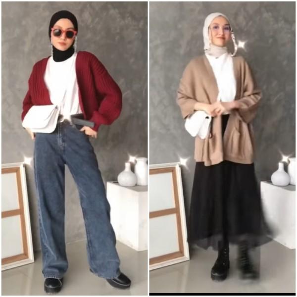 Tetap Kece di Musim Hujan dengan Style Knit Cardigan ala Selebgram Inas Rana