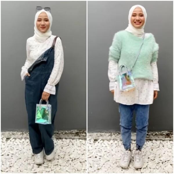 Mix and Match Blouse Motif dengan Aneka Outfit Ala Hijabers Ussy Fauziah