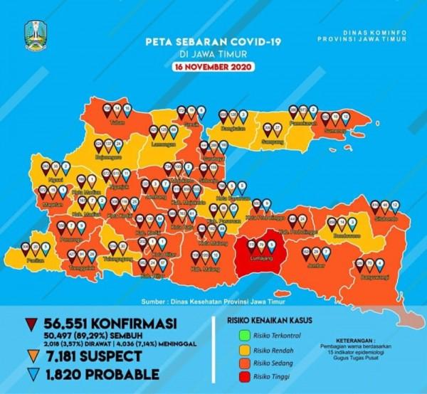 Peta sebaran kasus covid-19 di Provinsi Jawa Timur periode 16 November 2020. (Foto : Istimewa)