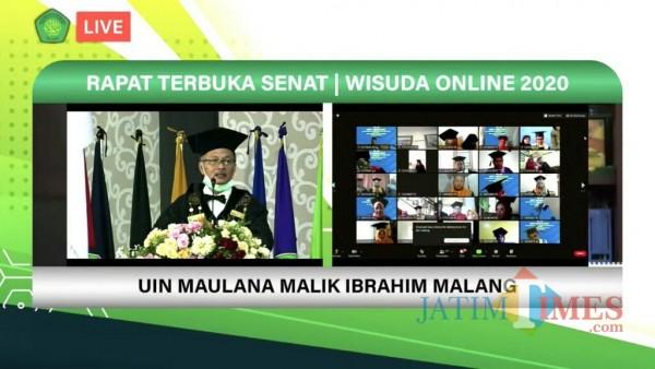 Wisuda Online Periode II Tahun 2020 UIN Maliki Malang. (Foto: Ima/MalangTIMES)