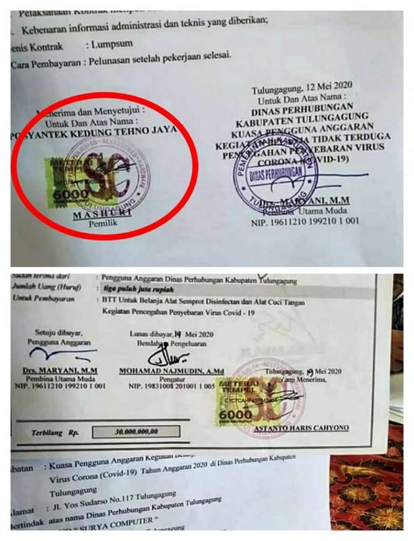 bukti kwitansi yang mencatut nama Mashuri dan Posyantek (Ist)