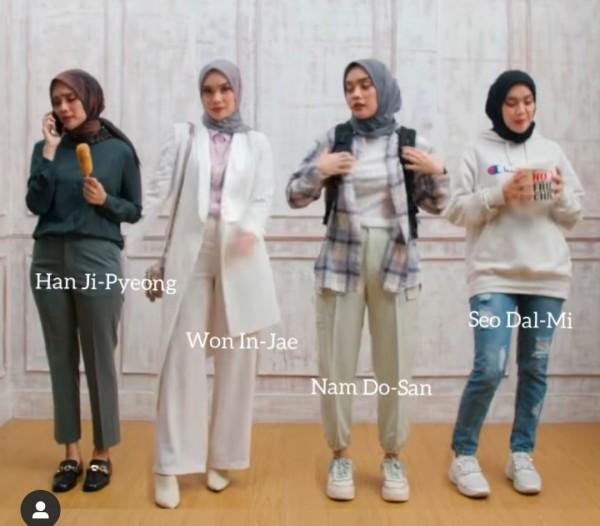 Berbagai macam outfit di serial drama Korea Start-Up dikreasikan selebgram hijab Tiqasya. (Foto: Instagram @tiqasya).