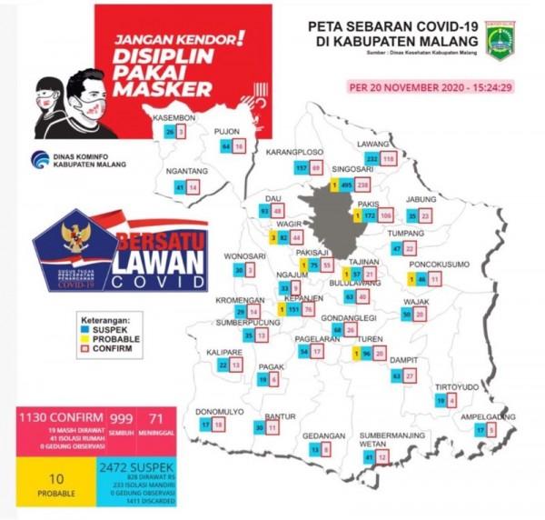 Peta sebaran kasus covid-19 di Kabupaten Malang periode 20 November 2020  (Foto : Istimewa)