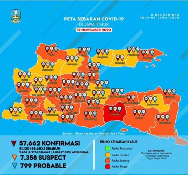 Peta sebaran kasus Covid-19 di Provinsi Jawa Timur periode 19 November 2020 (Foto: Istimewa)
